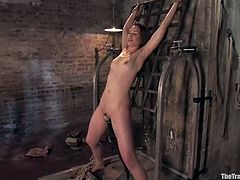 Adorable brown-haired girl Sarah Shevon allows Maestro put her into chains in a basement and play with her beautiful body. Maestro mouth-fucks the sweetie and then pounds her hot pussy from behind.