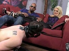 Check out the stunning blonde MILF Leya Falcon involved into some hardcore interracial cuckold. She takes that black cock into her pussy and asshole, while her white slave is watching.