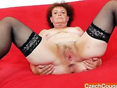 Marsa is a Czech amateur mom with big round tits and a shaven pussy. She plays with it with her fingers and then she inserts a big vibrator inside for an intense pleasure.