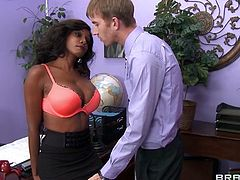 Diamond is the most senior teacher at this school and she is going to show the new skinny, white teacher a thing or two. She rubs her ass on his crotch and then he pulls out her gigantic ebony boobs. It looks like she earned tenure by sucking cock like a pro.