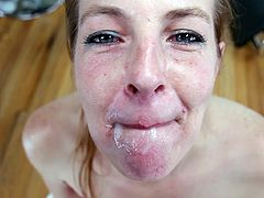 Cutie Timberlane is swallowing tasty cum load