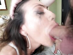 Heather Vahn puts her soft lips on Jonni Darkkos cock, dick, pole, meat pole, meatrock hard pole