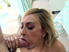 Gorgeous blonde milf Claudia Valentine is trying hard to satisfy some horny man. She strokes and rubs his boner and tries to take it as deep as possible in her mouth.