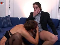 Press play on this hardcore scene where this horny mature redhead plays with her wet pussy before being fucked by a guy.