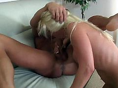 This big breasted blonde whore loves to suck on a cock then take it up the ass!