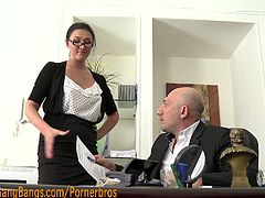 Watch a horny brunette belle getting tied up in office before three horny studs bang every single one of her holes. See how she endures a wild dp while her mouth gets also stuffed with hard meat.