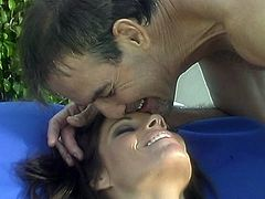 Lovely milf Misty Rain fucks this old timer in this outdoor sex tube movie.