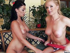 Silvia Saint and Jewel A screams from endless orgasms after rubbing each others lesbian fuck hole