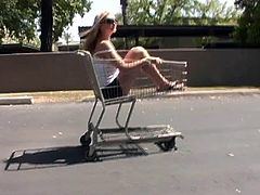 Adorable Alison Angel Shows Her Big Tits In A Supermarket Cart