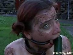 Infernal Restraints brings you a hell of a free porn video where you can see how a redhead bitch gets tied up and dildoed very hard in the middle of the farm.