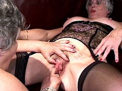 Horny mature ladies with big tits are enjoying themselves in a hot lesbian show
