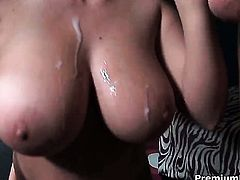 Sara Stone with juicy melons is ready to spend hours with dudes man meat in her mouth