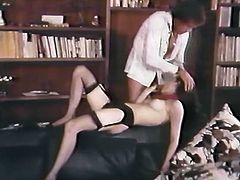 Classy office assistant gives her boss a great blowjob