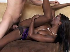 Slim ebony ladyboy Natassia Dreams is getting naughty with Rod Barry indoors. She pleases the man with a blowjob and then they fuck in missionary, side-by-side and cowgirl positions.