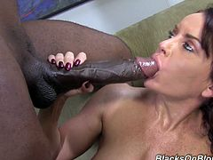 Janet Mason is a horny brunette milf with big tits and an incredible ass. Check out this interracial scene where this babe's fucked bu a monster black cock while she wears stockings and high heels.