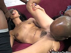 A couple of black dudes team up to fuckin' bone this slutty-ass brunette cunt, hit play and check it out right here, it's fuckin' hot!