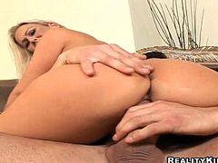 She is going to be helping her boss soon. But before that she will give him an amazing blowjob and let him fuck her sweet pussy!