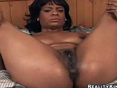 Be part of this reality video where an ebony babe, with a nice ass wearing a sexy bikini, gets her pussy fucked hard by a white dude.
