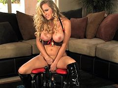 Amazing blonde with stunning forms shows off in wild toy cock riding scene