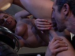 Horny busty babe grabs his big cock in garage.She is really horny and after looking at that big cock,she can't wait to take it in her tight pussy.Enjoy this brunette busty babe riding and getting nailed hard in this hardcore video.