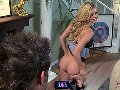 Get a load of this rough hardcore scene where the busty blonde Jessie Rogers is nailed by a big cock in the living room.
