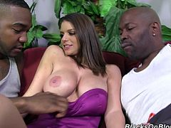 Watch the busty brunette Brooklyn Chase taking on two big black monster cocks in this hardcore interracial threesome.