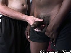Tyrese takes his big black cock out of his pants. After that Jeremy gives an amazing handjob to Tyrese.
