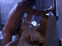 Gorgeous Jessica Drake stands on her knees and gives a blowjob. Later on she lifts the dress up and takes deep pussy fucking. This beauty also gets her face cum covered and mouth filled with cum.