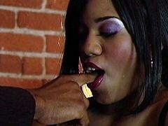Watch the slutty ebony babe Sydnee Capri end up with her mouth filled by cum after being fucked by this brother's big black cock.