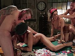 Foursome with two hot-ass cock-hungry bitches in this amazing scene right here with hung studs. Hit play and bust a nut to this shit, yo!
