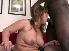 Horny mom screams of pleasure while cheating with a huge black cock