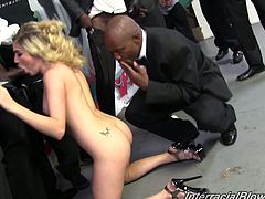 Her sweet mouth is moving from cock to cock and she is blowing them all. Believe it or not, but Giselle Leon manages to make them all cum at a time.