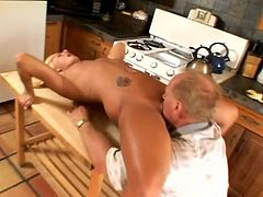 Naughty Chloe Chanel plays with her pussy sitting on a kitchen table. Later on she gives a blowjob to old man and gets her vagina licked well.