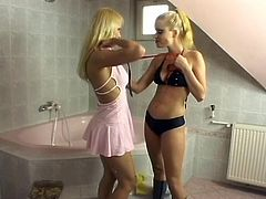 Victoria Slim and Miu Lee take their lingerie off in a bathroom. They take a shower and start to lick, finger and toy each others hot pussies.