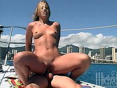 Horny chick sucks a dick passionately on the boat. Then the guy puts on a condom and starts to fuck Inari deep in her wet pussy. Later on she gets her mouth filled with cum.