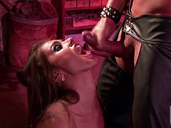 She chains her man up and gets down on his huge cock to suck it with passion! She is going to love it so bad! Then he cums on her face.