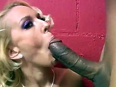 She is a sizzling and such a horny one with desires named Sophie Dee! So, she whoops his huge black cock out of a glory hole and starts loving it!