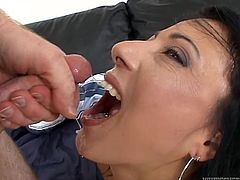 Have a look at this hot scene where Zoey Holloway has her wet pussy eaten out before she sucks on this guy's big cock before being fucked until her mouth's filled by cum.