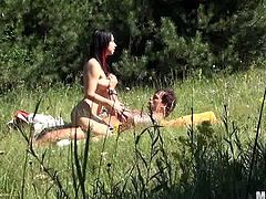 What a girl is here! She gets naked outdoors on the sunny day and this dude is so lucky to fuck this desirable babe! He is doing it with eyes closed.