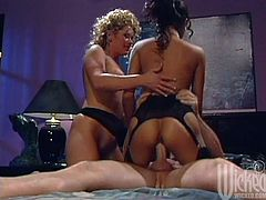 Johnni Black and Syren want sex so badly that force a dude to fuck them. They take his underwear off and sit down on his face. He has to lick pussies. Later on MILFs start to ride his cock like wild Amazons.