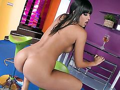 Irresistibly hot doll Sasha Cane with big knockers does her best to get you hot in solo action