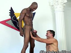 Handsome Black Dude Gets Nice Wanking From That Older Gay
