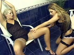 Two stunning blonde girls take their sexy lingerie off. Then they finger, lick and toy each others hot pussies in hot lesbian clip.