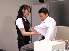 This dude is so fucking loyal to his boss! And boss is a stunning Japanese milf that loves a bit of fetish action! So, she is filling his mouth with her piss