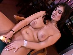 This stunning MILF is so horny and wet so she takes her sex toys and start penetrating her narrow moist cunt so hard until she gets satisfy.