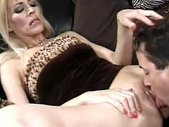 Sex addicted woman lifts a dress up and gets her vagina licked properly. After that she give a blowjob and then takes hard pussy fucking.