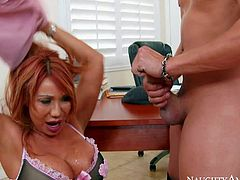 Asian milf Ava Devine finds Xander Corvus sexy and gives him sex lesson he wont soon forget. Hot big titted mom gets down on her knees in front of student guy in her office. She sucks his dick with appetite before titty fuck.