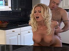 Sweet blonde milf loves pussy fucking in this kitchen sex scene for this tube video.