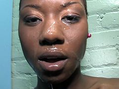 Slutty short-haired ebony girl is playing dirty games indoors. She sucks and rubs a gloryhole boner and then takes it in her coochie and gets it drilled.