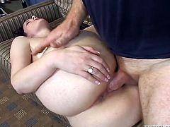 Salacious brunette Caroline Pierce pleases some guy with a blowjob and lets him lick her snatch. Then they fuck in the reverse cowgirl position and seem to be unable to stop.
